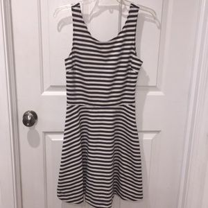 American Eagle Gray Striped Cut Out Dress Size 10